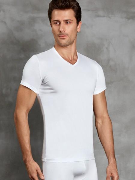 DOREANSE Erkek V Yaka Kısa Kol İnce Termal T-Shirt
