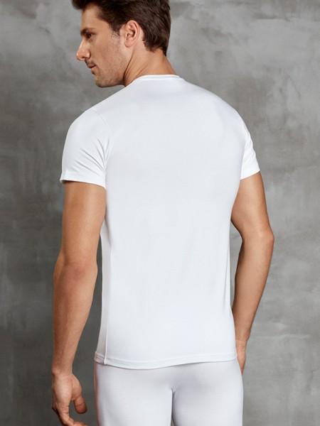 V Yaka Kısa Kol İnce Termal T-Shirt
