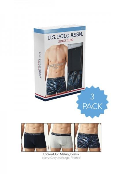 3'lü Paket Likralı Desenli Erkek Boxer
